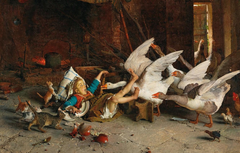 Photo wallpaper 1888, Italian artist, Italian painter, Gaetano Chierici, Gaetano Chierici, oil on canvas, Surprise!, Surprised!