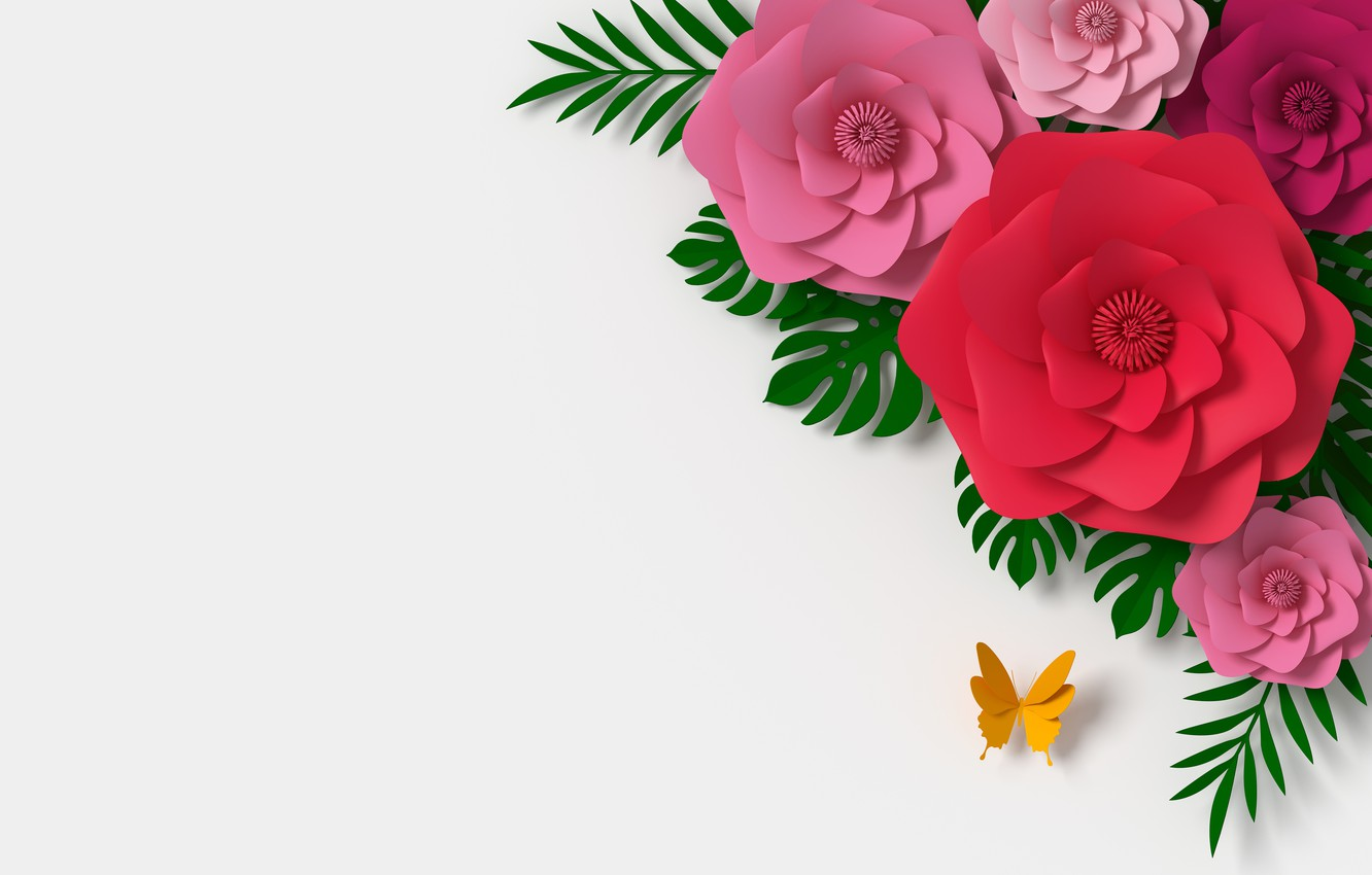 Photo wallpaper flowers, rendering, pattern, colorful, pink, butterfly, flowers, composition, rendering, paper, composition, floral