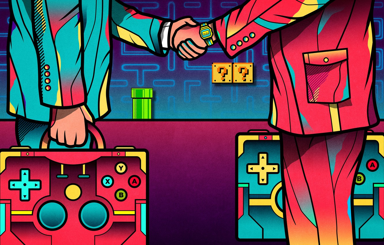 Photo wallpaper Color, Game, The game, People, Style, Mario, Art, Games, Art, Mario, Joystick, Style, Color, Game, …