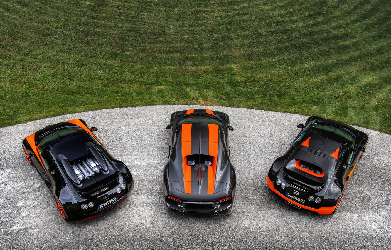 Photo wallpaper Bugatti, Veyron, 2010, the view from the top, 2013, Chiron, 2019, Veyron 16.4 Super Sport …