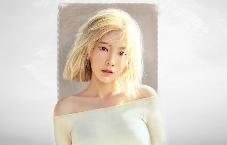 Photo wallpaper Minimalism, Look, Blonde, Style, Face, Asian, Girl, Background, Portrait, Art, Art, Asian, Beautiful, Minimalism, Face, …