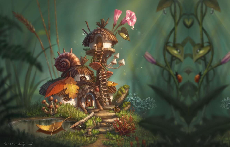 Photo wallpaper summer, Rosa, fantasy, morning, fantasy, art, house, children's, Nelly Amosova, Fairy's house