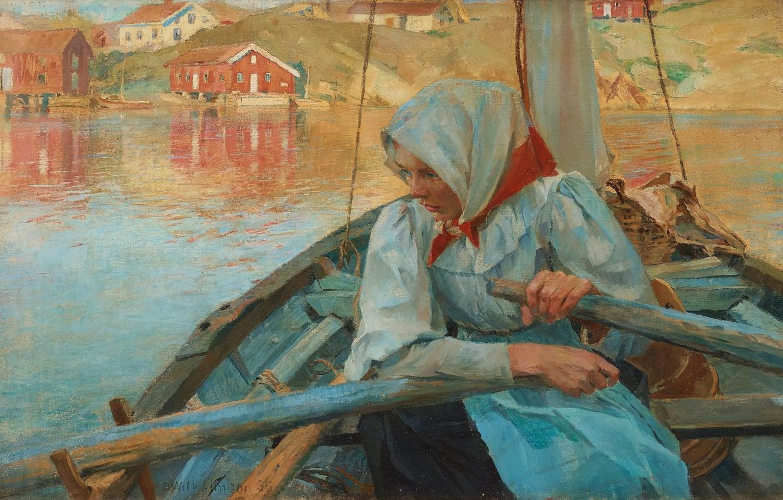 Photo wallpaper Swedish artist, 1894, Fisherwoman, Swedish painter, oil on canvas, Carl Wilhelmson, Carl Wilhelm Wilhelmson, Carl …