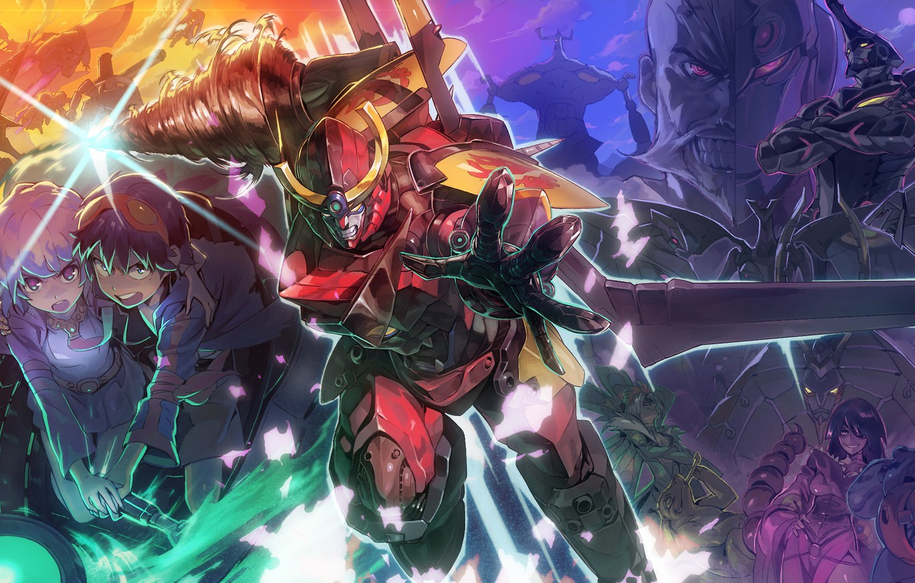 Photo wallpaper anime, art, characters, Distributed By Mattel And Nintendo Violence Gurren-Lagann