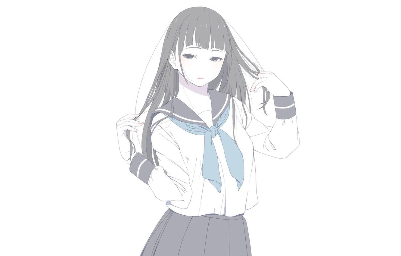 Photo wallpaper girl, white background, school uniform