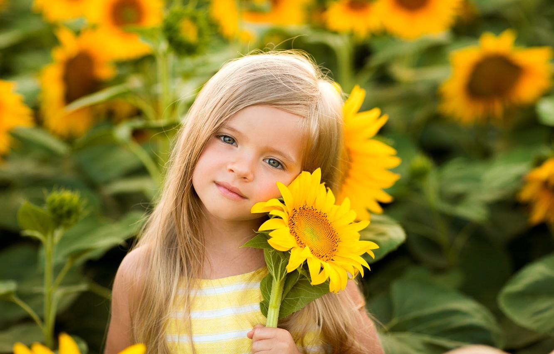 Photo wallpaper look, face, mood, sunflower, girl