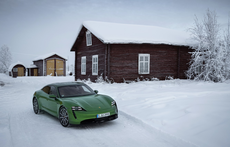 Photo wallpaper snow, Porsche, green, 2020, the house, Taycan, Taycan 4S