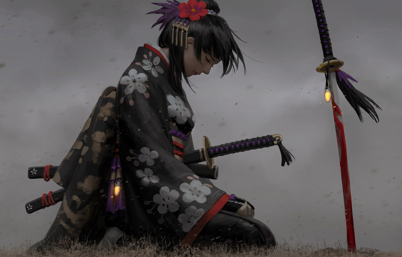 Photo wallpaper sadness, girl, decoration, pose, weapons, Japanese, art, profile, kimono