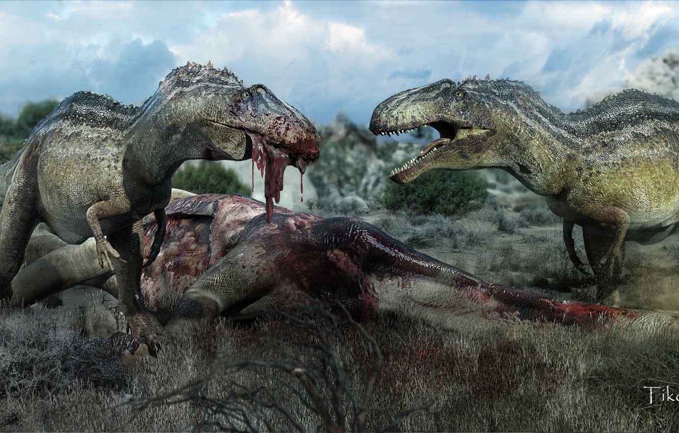 Photo wallpaper blood, art, death, meat, eating, dinosaurs, carnivores
