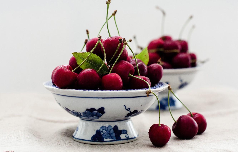 Photo wallpaper macro, berries, cherry