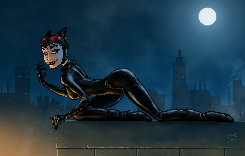 Photo wallpaper Night, The moon, Latex, Art, Cat woman, DC Comics, Catwoman, DC Art, Trinquétte Challenge - …