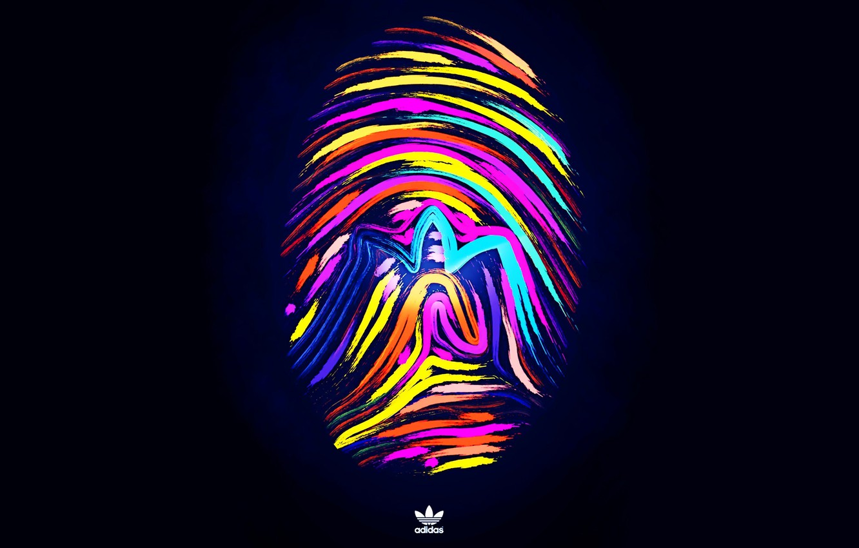Photo wallpaper logo, logo, adidas, imprint, fon, fingerprint