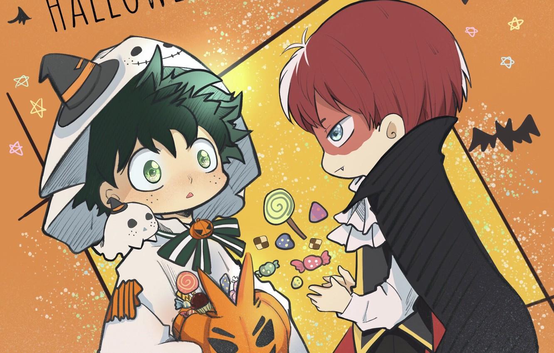 Photo wallpaper boys, costumes, Halloween, My Hero Academia, Boku No Hero Academy, Midori Isuku, Todoroki Shoto, My …