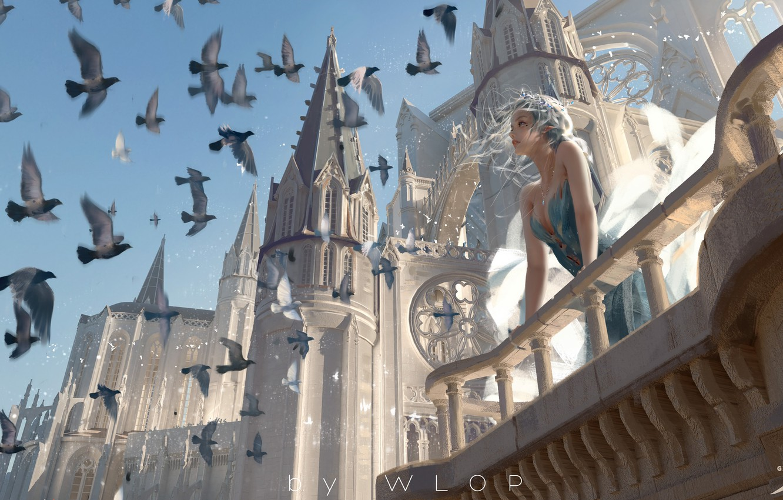 Photo wallpaper girl, fantasy, blue eyes, birds, castle, elf, digital art, artwork, princess, fantasy art, towers, balcony, …
