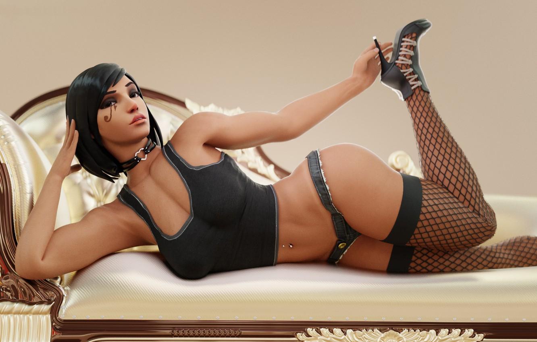 Photo wallpaper chest, girl, mesh, feet, body, beauty, stockings, heel, overwatch, Pharah, fareeha amari