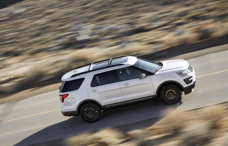 Photo wallpaper white, movement, Ford, Sport, SUV, Explorer, 2017, XLT