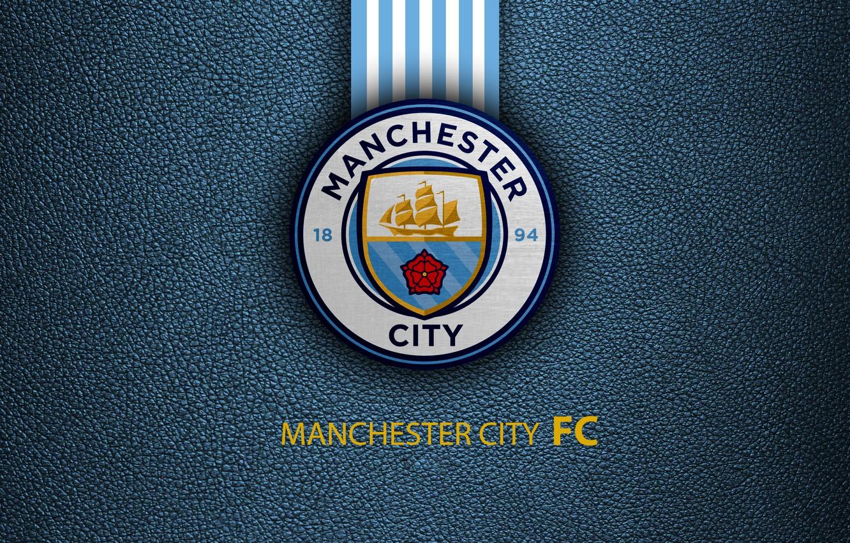 Photo wallpaper Logo, Football, Soccer, Manchester City, Emblem, English Club