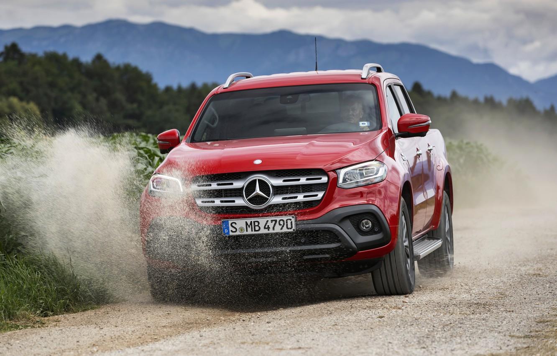 Photo wallpaper red, movement, Mercedes-Benz, dust, pickup, primer, 2017, X-Class