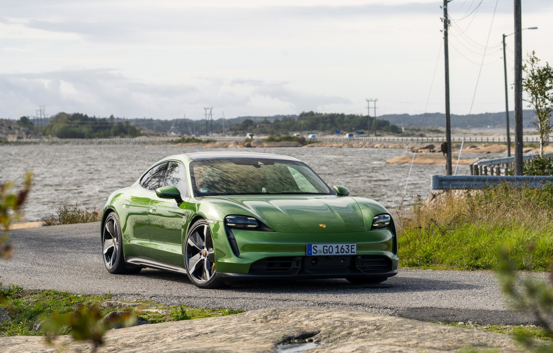 Photo wallpaper coast, Porsche, Turbo S, 2020, Taycan