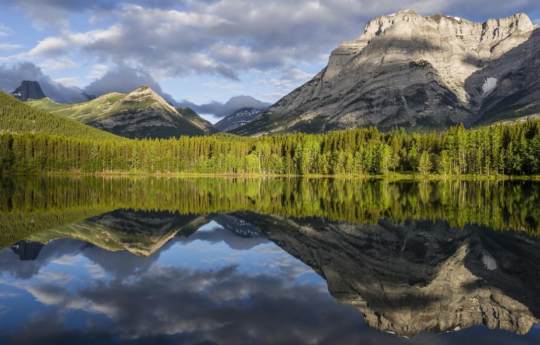 Photo wallpaper forest, landscape, mountains, nature, lake, beauty