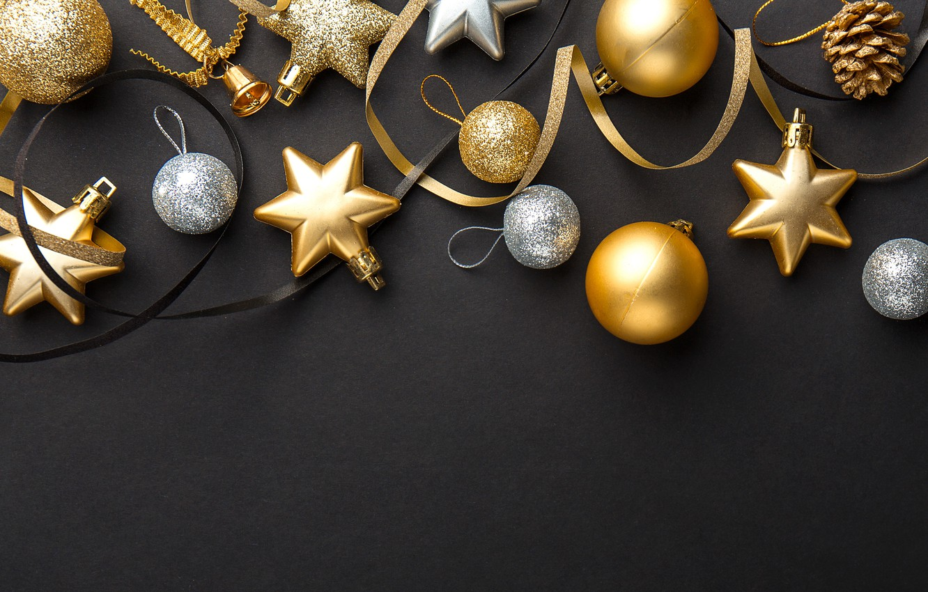 Wallpaper Decoration Gold Balls New Year Christmas