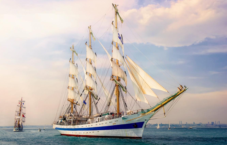 Photo wallpaper sea, ship, sailboat, three-masted, Парусник МИР