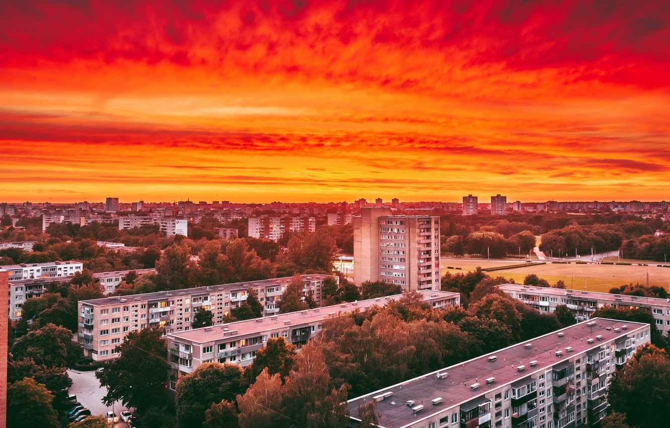 Photo wallpaper sunset, Lithuania, Kaunas