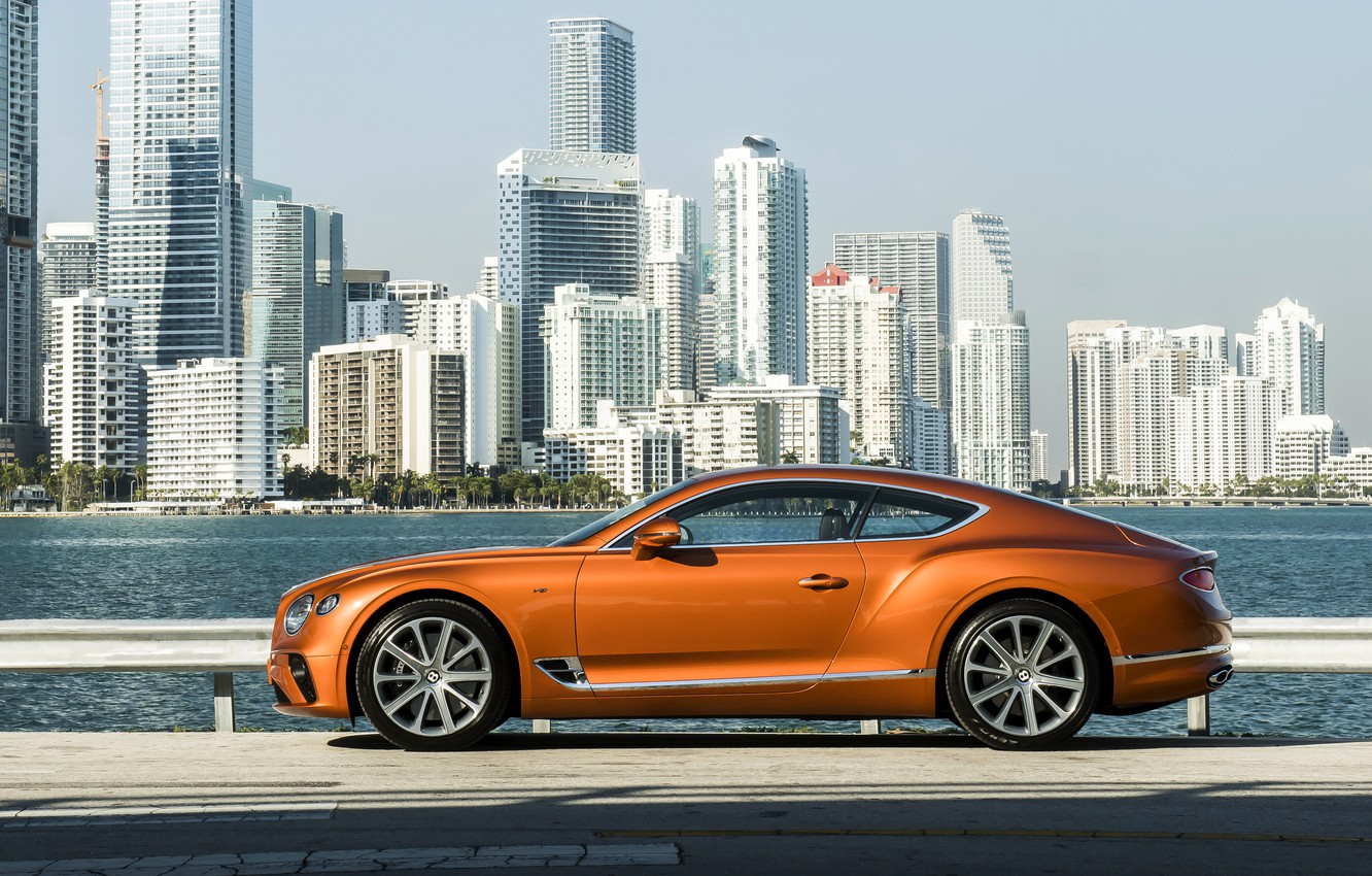 Photo wallpaper coupe, Bentley, near water, 2019, Continental GT V8