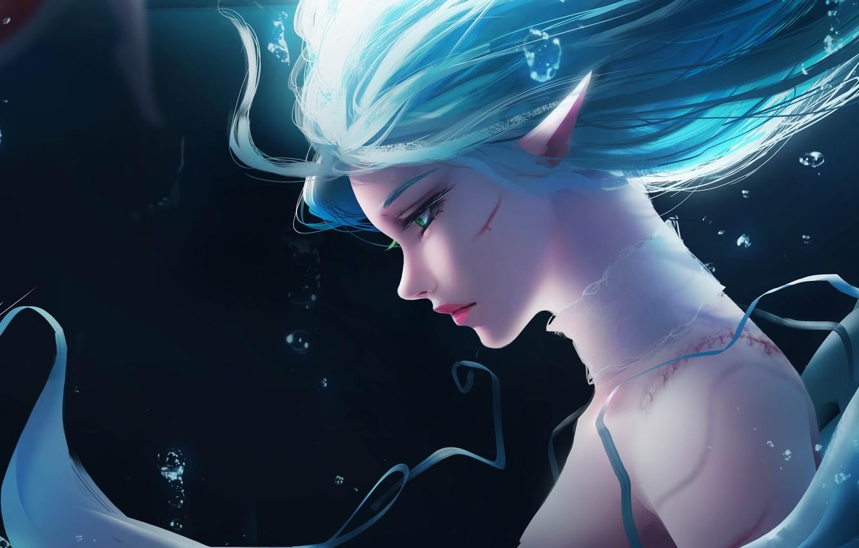 Photo wallpaper Girl, Fantasy, Anime, Ocean, Elf