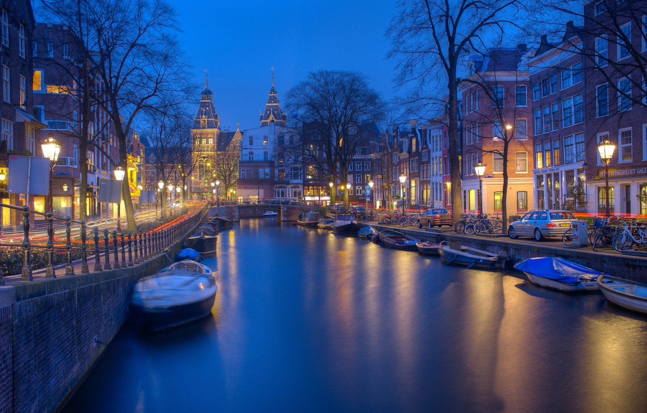 Photo wallpaper machine, the city, street, building, home, boats, the evening, lighting, Amsterdam, channel, Netherlands, bikes, Holland