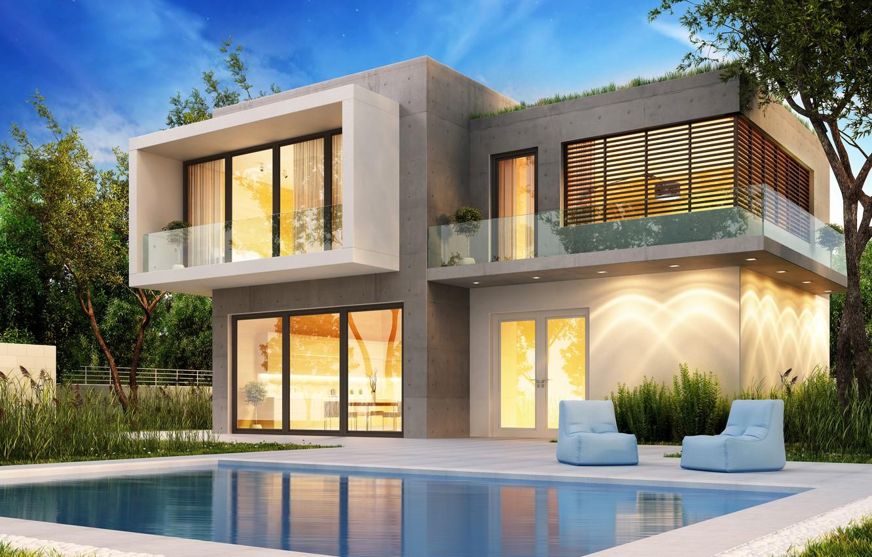 Photo wallpaper design, house, lawn, Villa, pool, modern, houses, villa, luxury