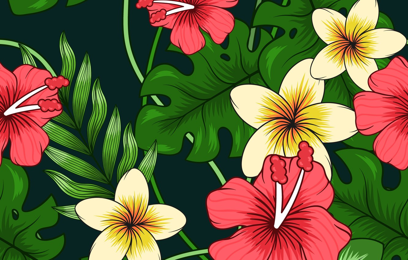 Photo wallpaper leaves, flowers, background, black, texture, colorful, flowers, background