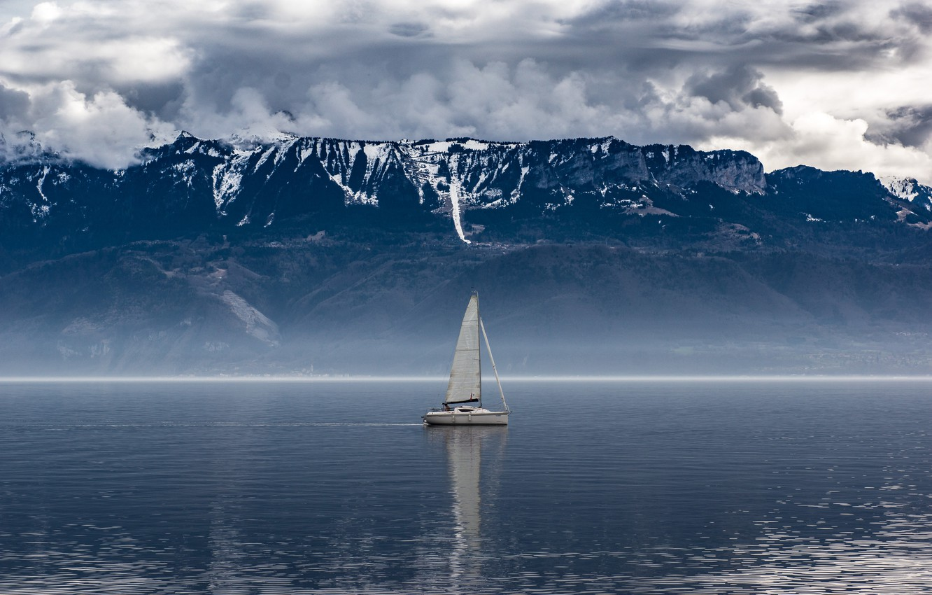 Photo wallpaper sky, sea, ocean, water, clouds, snow, boat, foggy, mist, montain, sail boat, little ship