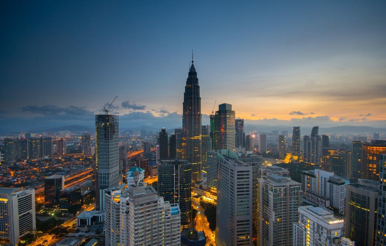 Photo wallpaper the sky, the city, crane, skyscrapers, Malaysia, Kuala Lumpur