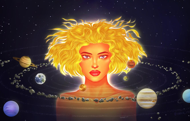 Photo wallpaper Girl, Saturn, Stars, Space, Face, Earth, Planet, Mars, Jupiter, Neptune, Mercury, Venus, Planets, Saturn, Art, …