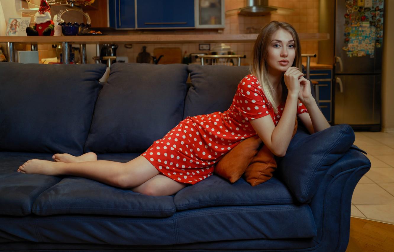 Photo wallpaper look, girl, pose, sofa, feet, polka dot, hands, dress, red dress, Andrei Filonenko