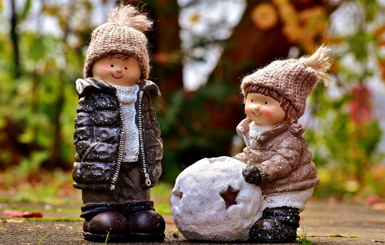 Photo wallpaper winter, autumn, snow, nature, children, Park, hat, the game, toys, boy, jacket, girl, figures, composition, …