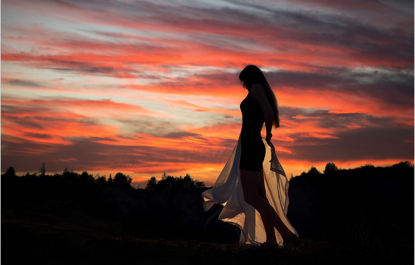Photo wallpaper the sky, girl, sunset, pose, Andrew Stankūnas