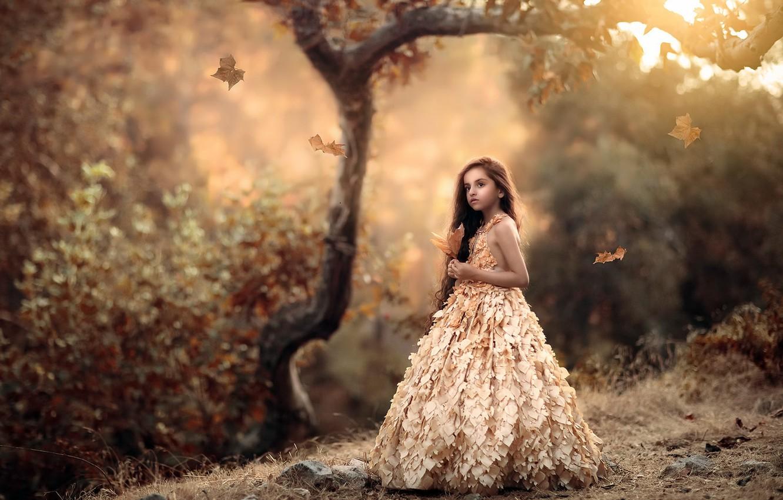 Photo wallpaper autumn, nature, girl