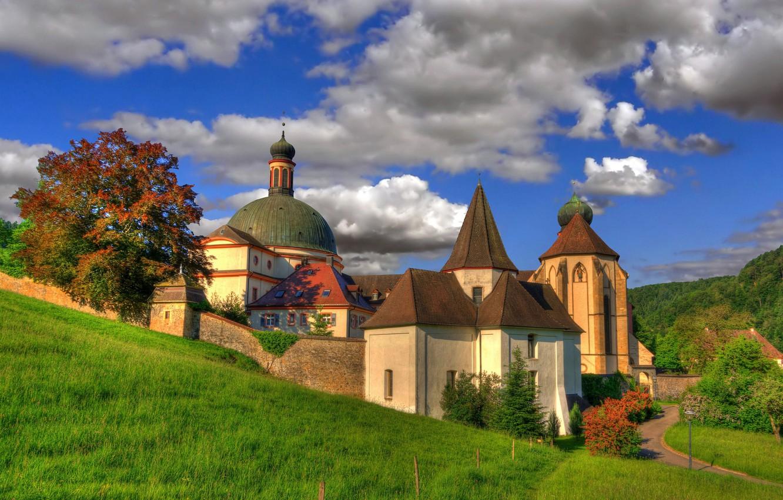 Photo wallpaper clouds, Germany, architecture, the monastery, Germany, Baden-Württemberg, Baden-Württemberg, Abbey, Munstertal, Muenstertal, St. Trudpert Abbey