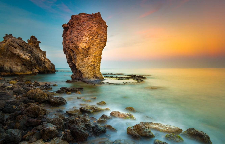 Photo wallpaper sea, landscape, sunset, nature, rock, coast, beauty