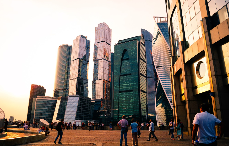 Photo wallpaper city, light, summer, sky, blue, panorama, beautiful, view, skyscraper, clouds, sun, Moscow, horizon, architecture, building, …