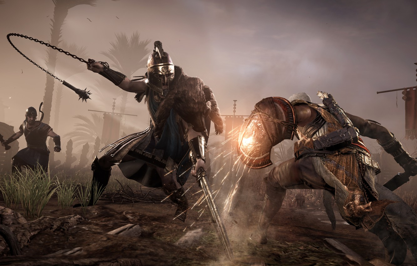 Photo wallpaper Weapons, Battle, Fighting, Shield, Ubisoft, Game, Equipment, Assassin's Creed Origins, Bayek, Lucius Septimius