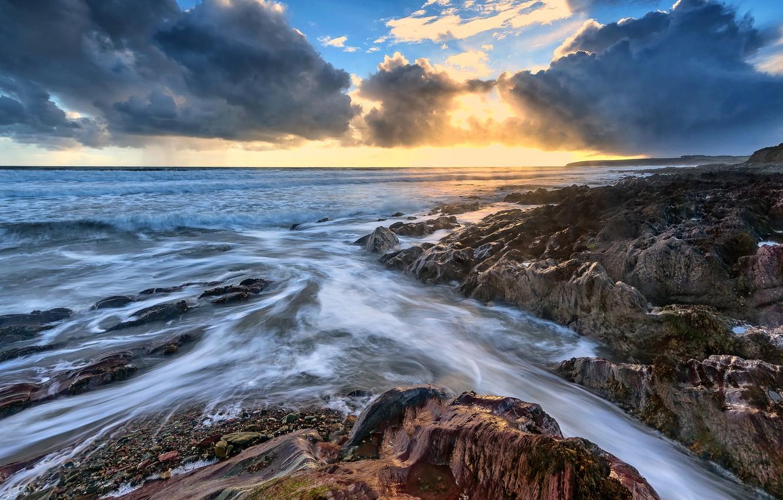 Photo wallpaper clouds, rocks, coast, Ireland
