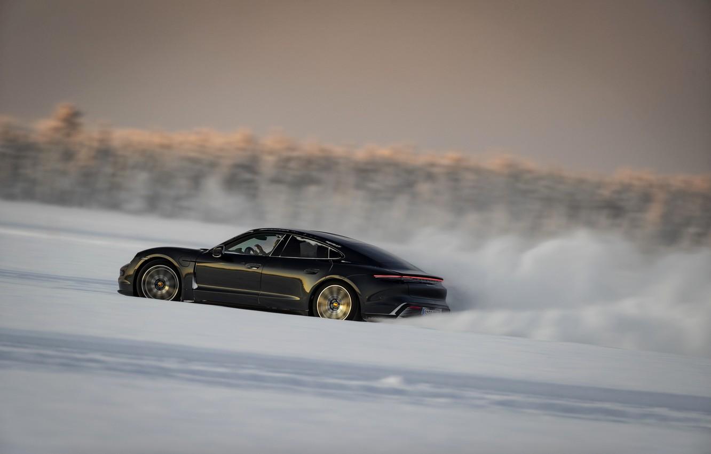 Photo wallpaper snow, black, plain, Porsche, track, 2020, Taycan, Taycan 4S