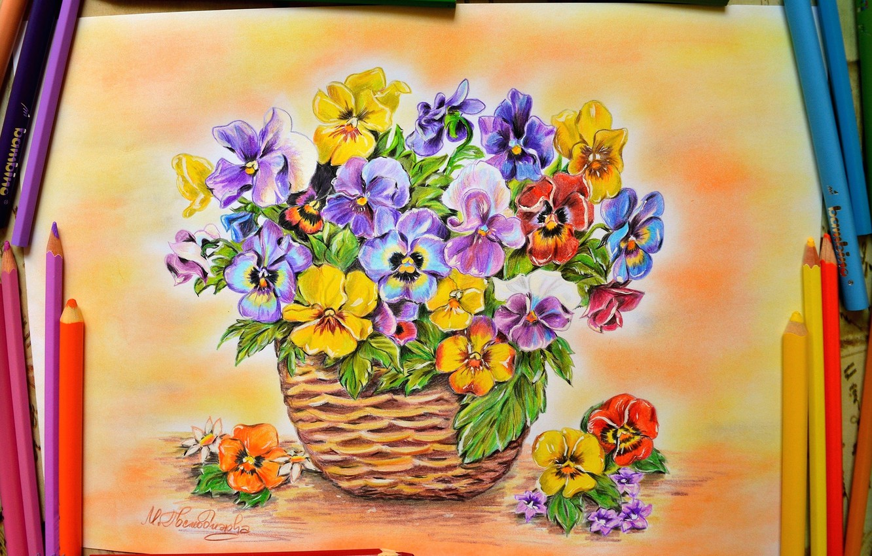 Photo wallpaper Figure, Pencils, Flowers, Pansy