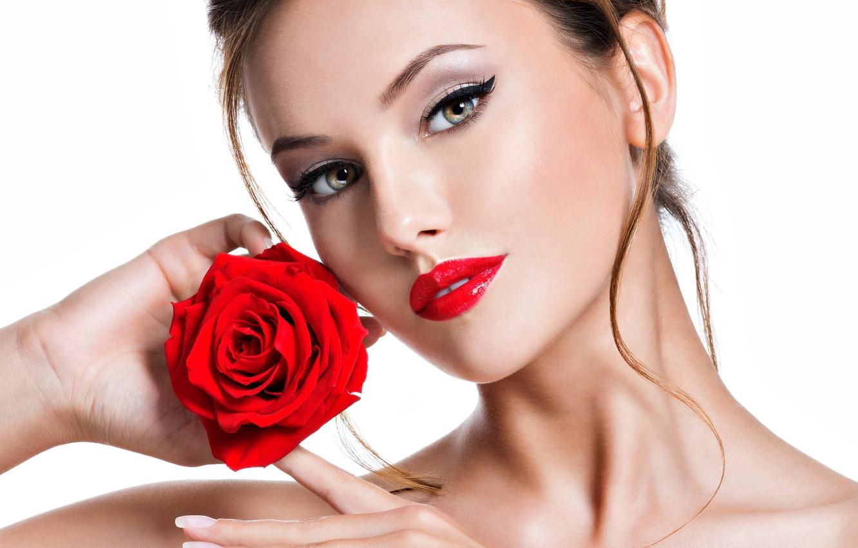 Photo wallpaper girl, portrait, makeup, red, beautiful, face, model, Valua Vitaly