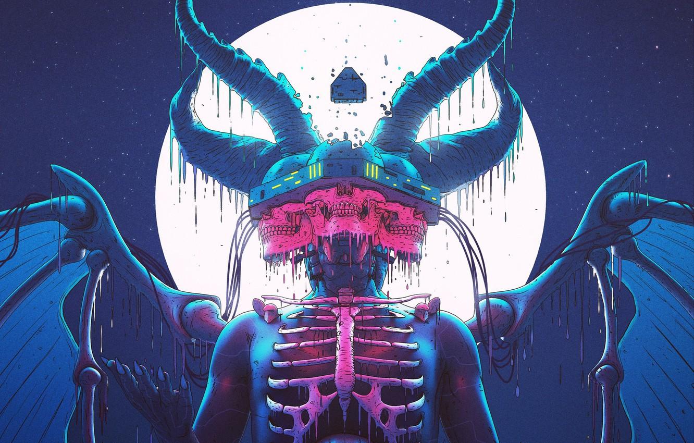 Photo wallpaper Color, The moon, Style, Head, Moon, The demon, Fantasy, Horns, Devil, Style, Color, Fiction, Fiction, …