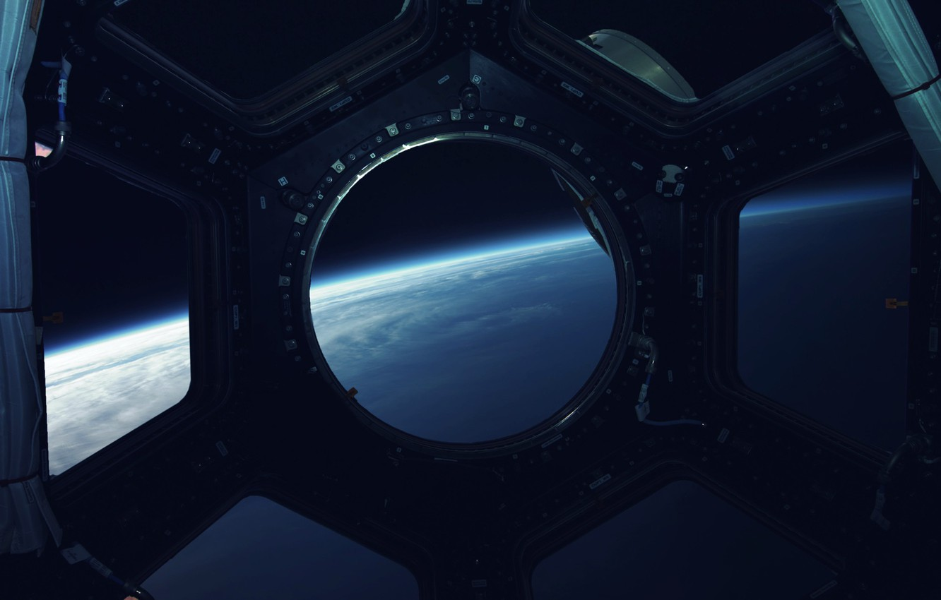 Photo wallpaper Station, Planet, Space, View, The window, Surface, Art, Space, Art, Spaceship, Planet, Surface, Station, View, …