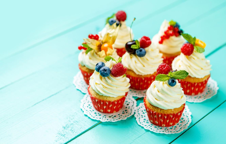 Photo wallpaper cherry, berries, blueberries, decoration, cream, dessert, cakes, cupcakes
